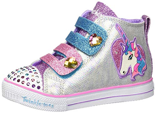 Skechers Kids Girls' Shuffle LITE-Unicorn PALS Sneaker, Silver/Multi, 5 Medium US Toddler