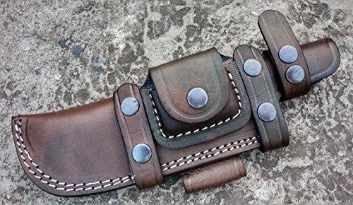 Knife Leather Skinning Sheath (Ottoza Custom Handmade Dark Brown Right Hand Leather Knife Sheath for Tracker Knife - Bushcraft Knife - Hunting Knife - Survival Knife - Skinning Knife Horizontal Scout/Cow - Buffalo Leather No:41)