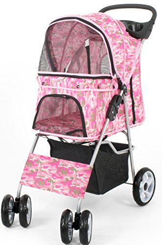 VIVO Pink Camo 4 Wheel Pet Stroller for Cat, Dog and More, Foldable Carrier Strolling Cart (STROLR-V001M)