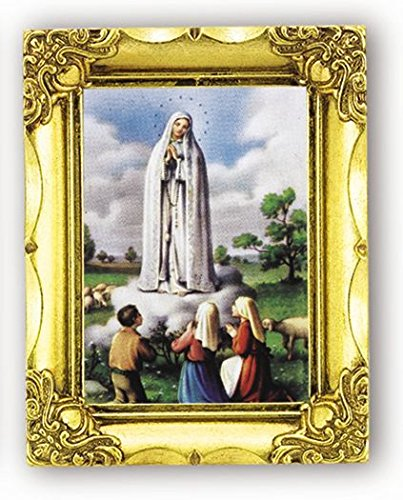 Our Lady of Fatima Italian Lithograph in Antique Gold Frame Frame 4.5x3.5 128-888