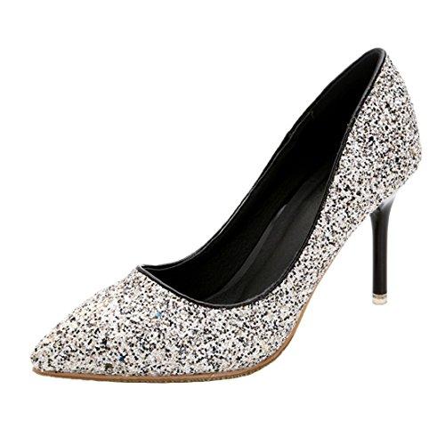 HooH Women's Shiny Pointed Toe Non skid Stiletto Dress Pumps Grey