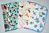 1 Ply Owls & Birds Fun Flannel Washable Kids Lunchbox Napkins 8x8 inches 5 Pack - Little Wipes (R) Flannel