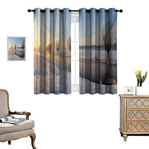 Winter Patterned Drape for Glass Door Snowy River Landscape Barren and Frosted Trees Dutch Netherlands Europe Photograph Waterproof Window Curtain W72 x L45 Multicolor