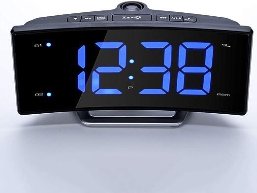 JJJ Despertador De La Proyección Espejo FM Radio Despertador LED ...