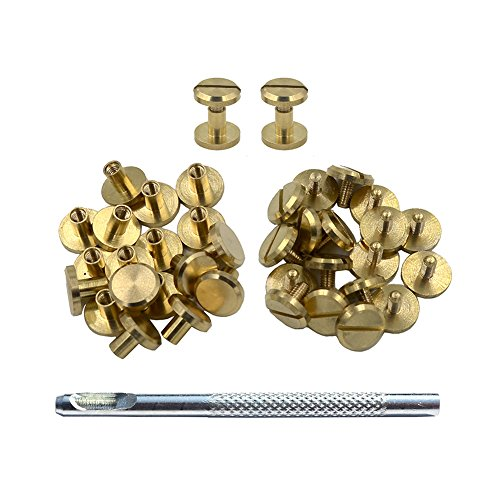 er Binding Stud Belt Strap Bag Screws Binder Nail Rivet 20 Sets With Install Hole Punch (10mmx4mm) (Brass And Leather)