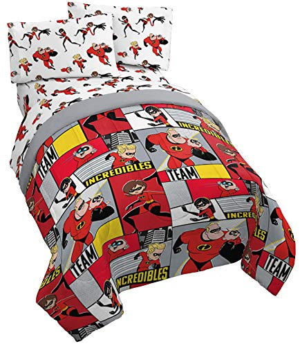 Jay Franco Disney/Pixar Incredibles Super Family Twin Comforter - Super Soft Kids Reversible Bedding - Fade Resistant Polyester Microfiber Fill (Official Disney/Pixar Product)