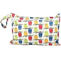 JUNGEN Bolsa de pañales reutilizable para bebé Pequeña bolsa de pañales impermeable con Estampado animal Bolsa de pañales de tela portátil con Cremallera Organizador de pañales