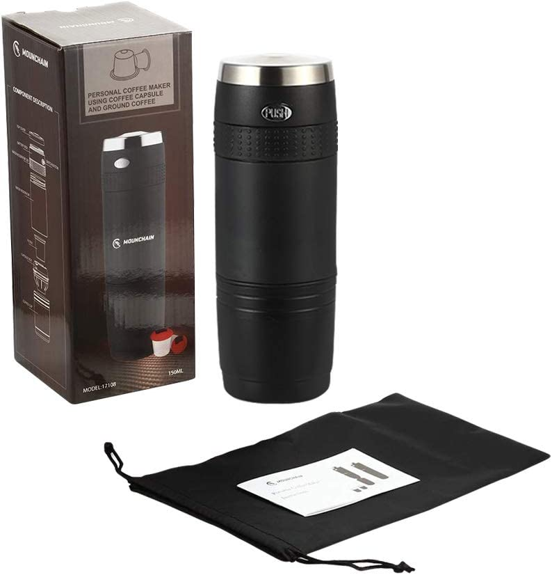 Portable Coffee Maker, Mini Battery Pumped Coffee Machine for Outdoor Travel Camping Office, Pour In Hot Water Press Button and Enjoy the Coffee
