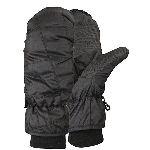 Women's 100 Gram Thinsulate Lined Winter Mittens (with Glove Lining)(Black, Large)