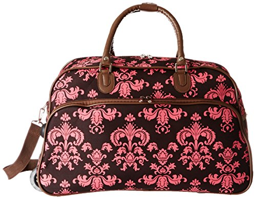 World Traveler 21-Inch Carry-On Rolling Duffel Bag, Brown Pink - Brown Pink