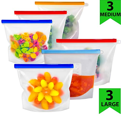 Reusable Silicone Food Bag | Reusable Freezer Bags | Reusable Food storage Bags  for Sous Vide, Liquid, Snack , Sandwich | Preserving And Cooking with Reusable silicone bags | 3 Large + 3 Medium