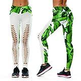 Azuki Women Leggings Workout High Waist Ripped Front Tights 3D Print Yoga Pants S/XL