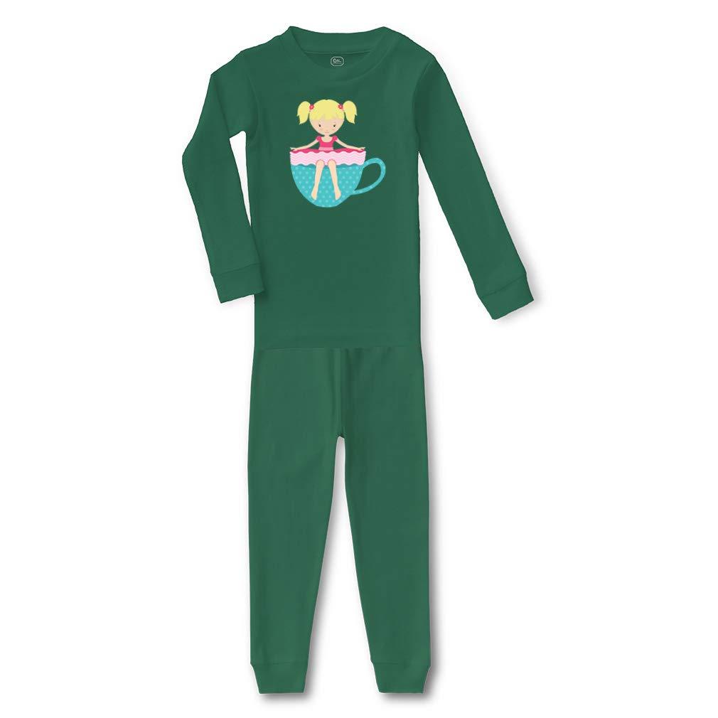 Girl Blue Cup Blonde Cotton Crewneck Boys-Girls Sleepwear Pajama 2 Pcs Set