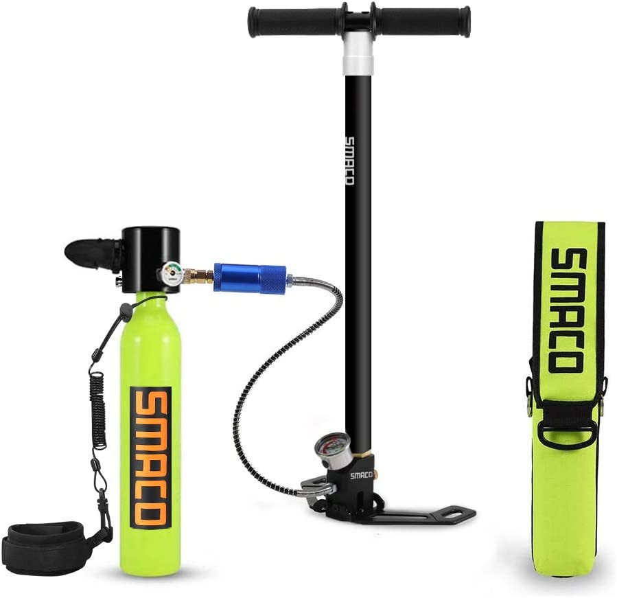 Qians S300 Pro Smaco Diving Tank Equipment,Mini Scuba Cylinder High Pressure Air Pump with 5-12 Minutes Scuba Tank Refill Adapter for Underwater Diving Breathe Training