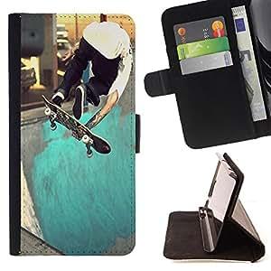 King Art - Premium-PU-Leder-Prima caja de la PU billetera de cuero con ranuras para tarjetas, efectivo Compartimiento desmontable y correa para la mu?eca FOR Samsung Galaxy Note 4 SM-N910 N910 IV- Skateboard HipPop Man Funny