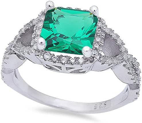 Princess Shape Simulated Emerald & Cubic Zirconia Infinity Band .925 Sterling Silver Ring Sizes 6-9