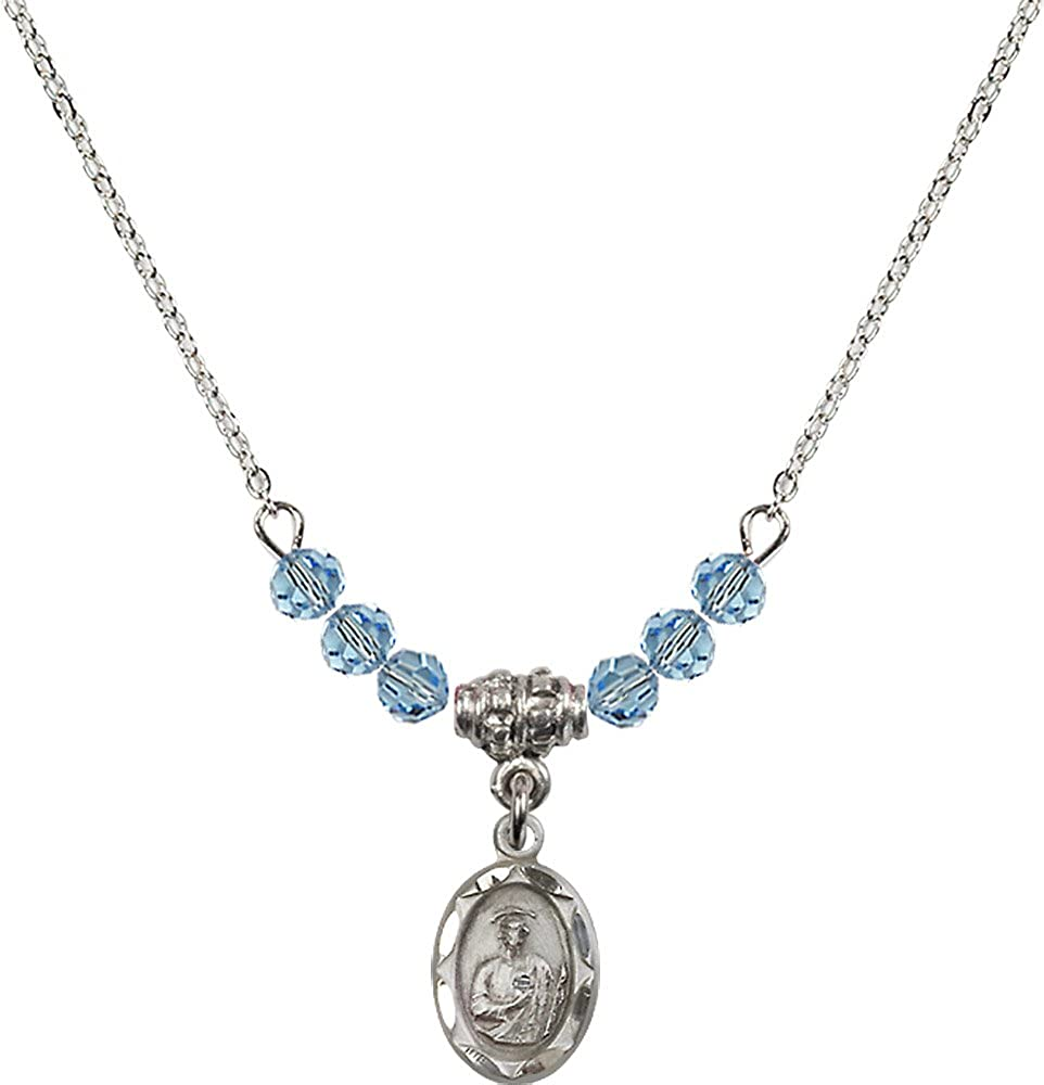 18-Inch Rhodium Plated Necklace with 4mm Aqua Birthstone Beads and Sterling Silver Saint Jude Charm.