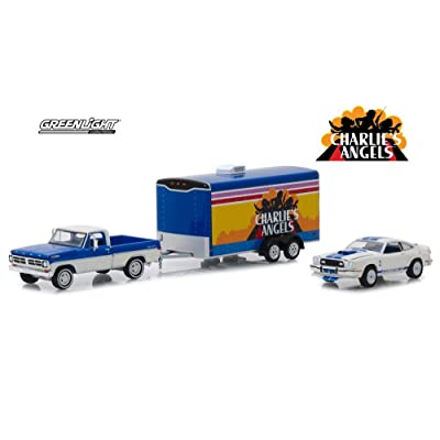 1972 Ford F-100 with 1976 Ford Mustang II Cobra II in Enclosed Car Hauler, Charlie's Angels - Greenlight 31070/24 - 1/64 Scale Diecast Model Toy Car: Toys & Games