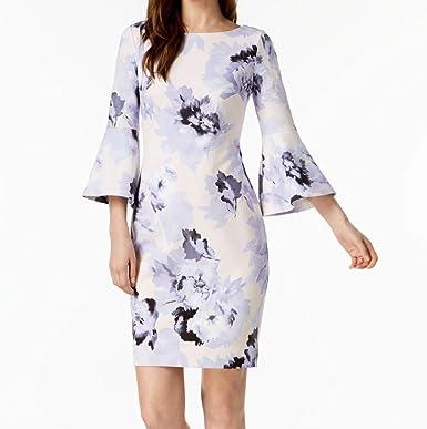 756e8780a38de Image Unavailable. Image not available for. Color: Calvin Klein Womens  Floral-Printed Sheath Dress Purples