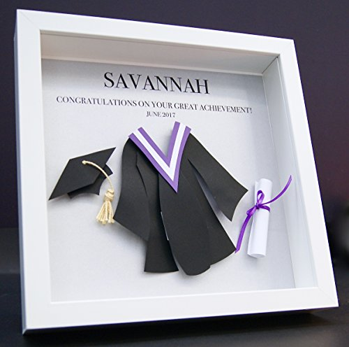 Personalized Graduation Custom Shadowbox Frame with Paper Convocation Gown and Cap with Ribboned Diploma Custom 3D Paper Wall Art (Custom Graduation Caps)