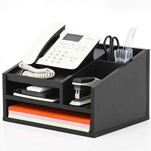 FITUEYES Wood Office Suppies Desk Organizer 5 Compartments with Letter Tray,Phone Stand,Pen Pencil Holder,Black (TR303501WB) - Telephone Desk Stand