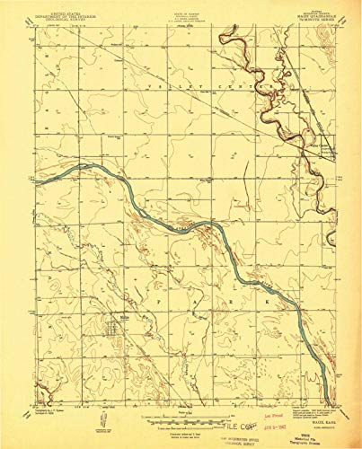 (Kansas Maps   1941 Maize, KS USGS Historical Topographic Map   Cartography Wall Art   44in x 55in)