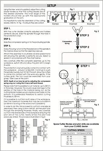 QWORK 1-5//8a 11-3//4 Paredes y Suelos ajustable agujero cortador agujero sierra para altavoces agujeros de ventilaci/ón,luces empotrable en Techos 40-300 mm