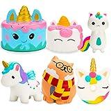 R HORSE Cute Kawaii Animal Squishy Toys Set Narwhal Cake, Unicorn Cake, Unicorn Donut, Unicorn, Glasses Cat, Unicorn Fox Slow Rising Cream Scented Squishies Stress Relief Toys for Kids (6 Pack)