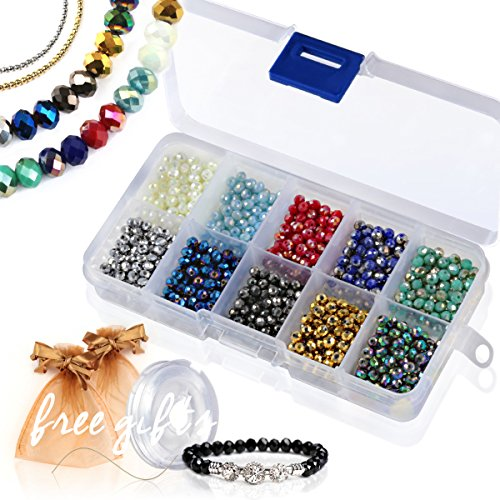Briolette Faceted Rondelle Crystal Glass Beads in Assorted Color with Spacers and Container Box for Jewelry Making (#102, ()