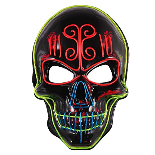 Skull Mask Costumes - Amosfun Halloween LED Light Mask Men's