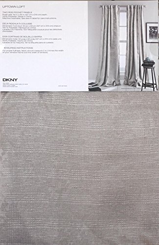 Drapery Panel Set - DKNY Pair of Room Darkening Window Curtains Drapery Rod Pocket Panels Set of 2 Shimmery Gray Beige with Textured Cross-Hatch Screen Pattern 50 Inches by 84 Inches -- Uptown Loft