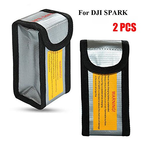Fireproof LiPo Battery Bag for DJI Spark, Battery Safe Storage Bag, 125 x 64 x 50 mm (2 PCs)