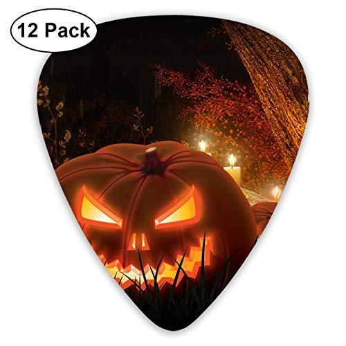 Qbeir 12-Pack Guitar Picks Plectrums 0.46mm / 0.71mm / 0.96mm Halloween Pumpkin Scary Celluloid for Bass Ukulele]()
