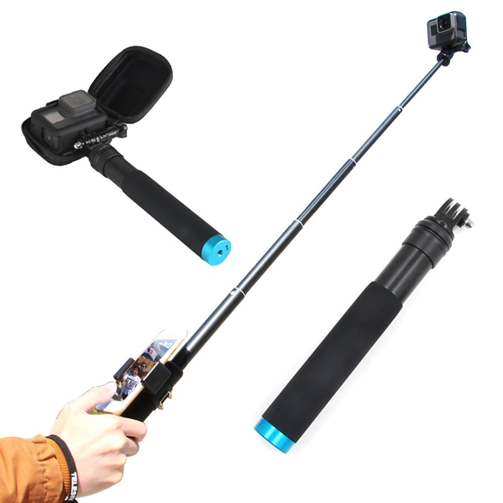 TELESIN GoPro Selfie Stick and Tripod+GoPro Protective Case Smal+Cellphone Clip Housing, GoPro Selfie Pole Monopod for Hero 2018 Hero 6 Hero 5 Hero 4 Fusion Session Cameras Accessories by TELESIN