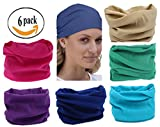 6PCS Headwear, Headband Scarf Bandanna Headwrap Mask Neckwarmer & More 12-in-1 Multifunctional Stretchable Sport & Casual