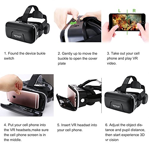 3D VR Glasses, HAMSWAN 3D VR Goggles VR Headset Virtual Reality Goggles Headset Glasses with Built-in Headset, Unique Design and Multifunction Button Compatible with Smartphones within 4.0-6.0 inch by HAMSWAN (Image #5)