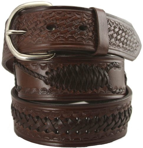 Brown Leather Western Belt (Western Scorpion X Hand Woven Genuine Leather Belt 1-1/2