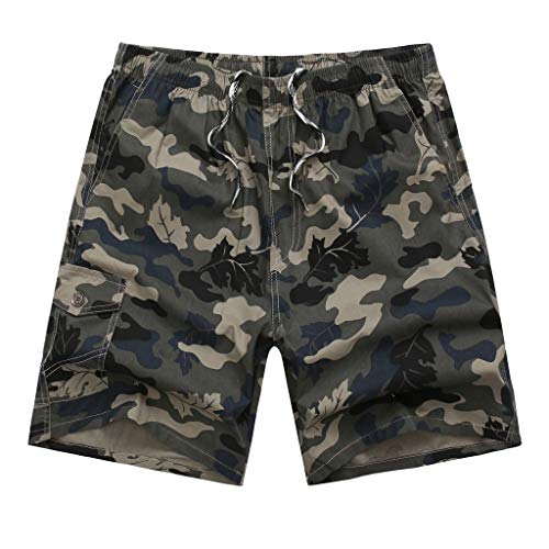 PENGY Shorts Pants Trouser Men's Summer Outdoors Casual Loose Camouflage Patchwork Overalls Beach Pants ()