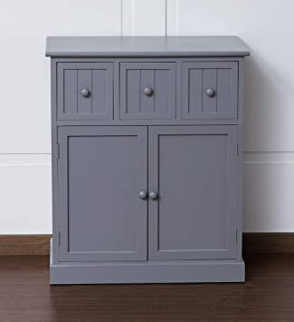 Sue Ryder Grey Shabby Chic Sideboard Cupboard 3 Drawers Bedroom