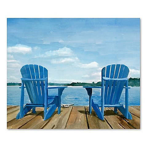 Wall Art Displaying A Touching Image Of Adirondack Chairs Together by Generic