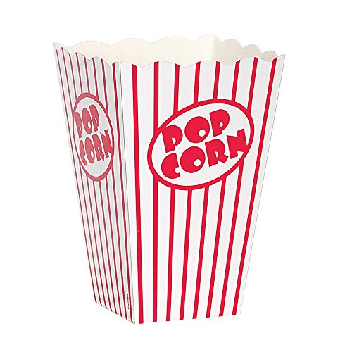 Movie Theater Red and White Striped Popcorn Boxes, 10ct (Box To Measure Balloons)