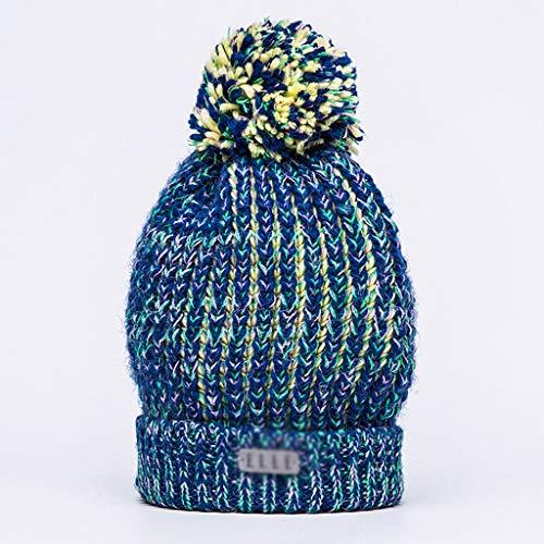 De Punto E Comodidad Invierno Lanas Haba Las Casual Del Sombrero Bola Grueso Blue Pelo Señoras La Caliente Gorros Otoño gd5qPwd
