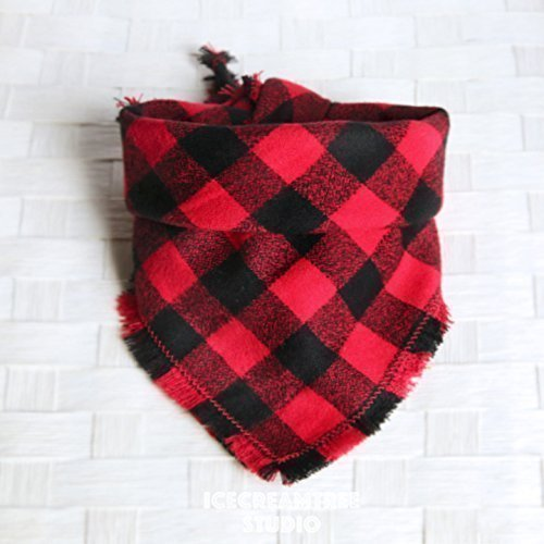 Tie on Flannel Pet Bandana Scarf, Pet Fashion Scarf, Dog Bandana Scarf, Cat Bandana Scarf - Buffalo Plaid Black Red