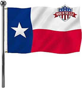 Texas State Flag 3x5ft Outdoor- Heavy Duty Republic of Texas Flags Banners- Vivid Colors UV Resistant TX Flags with 2 Brass Grommets