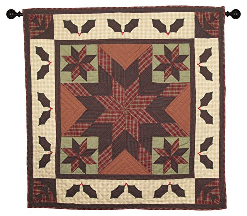 Twinkle Star/Holly Plaid Wall Hanging Quilt 44 Inches by 44 Inches 100% Cotton Handmade Hand Quilted Heirloom Quality