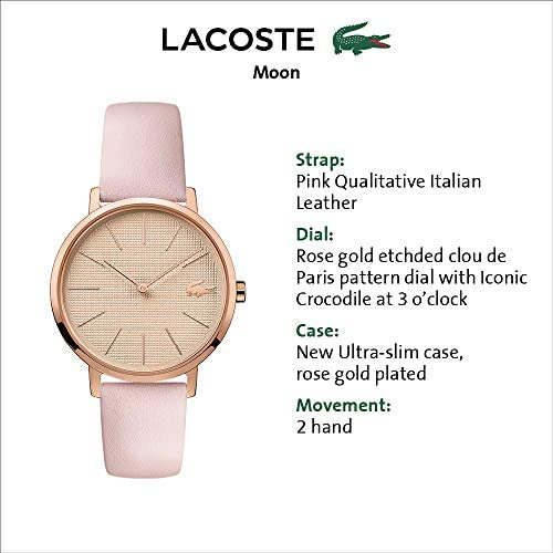 Lacoste Women's Moon Stainless Steel Quartz Watch with Leather Calfskin Strap, Pink, 16 (Model: 2001113) 4