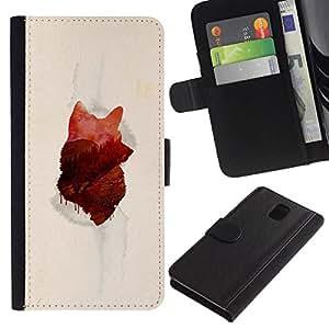 // PHONE CASE GIFT // Moda Estuche Funda de Cuero Billetera Tarjeta de crédito dinero bolsa Cubierta de proteccion Caso Samsung Galaxy Note 3 III / Wolf Forrest /
