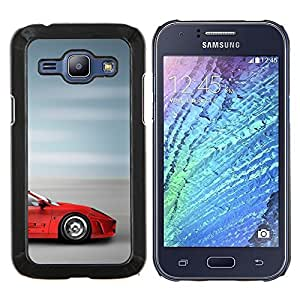 "Be-Star Único Patrón Plástico Duro Fundas Cover Cubre Hard Case Cover Para Samsung Galaxy J1 / J100 ( Supercar Sprotscar Fast Car Roja borrosa velocidad"" )"