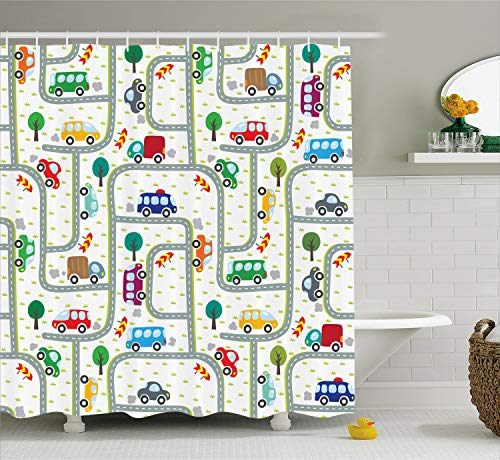 Ambesonne Cars Shower Curtain, Vibrant Cute Children Drawing Cars Driving on The Roads Traffic Urban Themed Design, Fabric Bathroom Decor Set with Hooks, 70 Inches, Gray Green