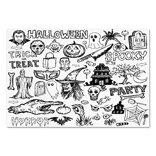 Large Wall Mural Sticker [ Vintage Halloween,Hand Drawn Halloween Doodle Trick or Treat Knife Party Severed Hand Decorative,Black White ] Self-adhesive Vinyl Wallpaper / Removable Modern Decorating Wa -